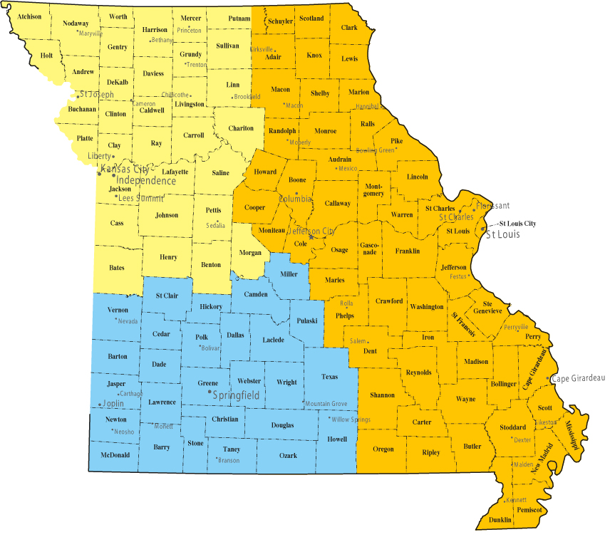 missouri map area covered by kinstler & associates